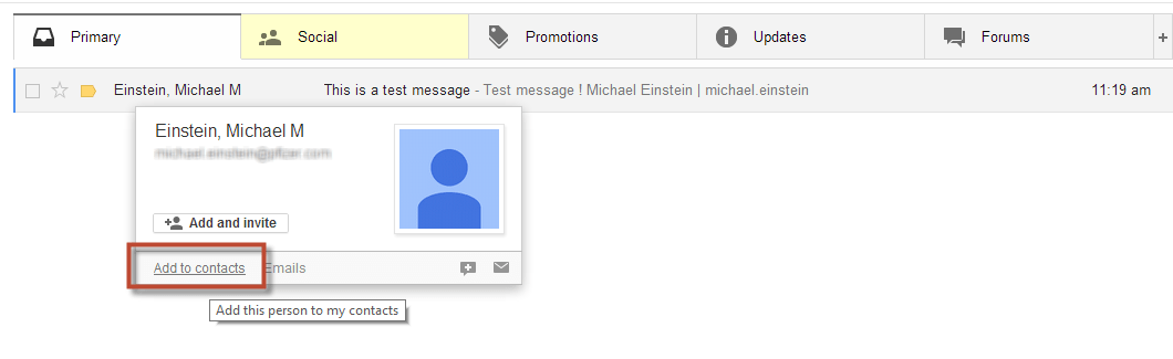 Gmail Tabs Add to Contacts