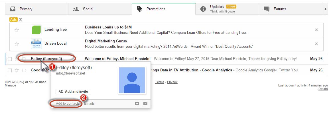 Gmail Whitelist add to contact