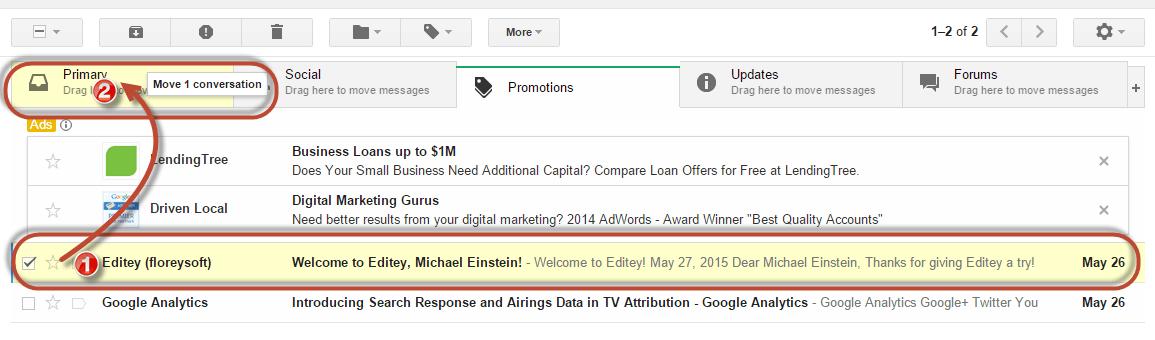Gmail whitelist drag to primary tab