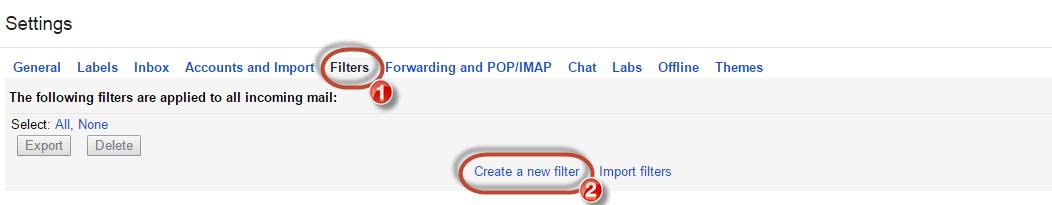 Gmail whitelist create new filter