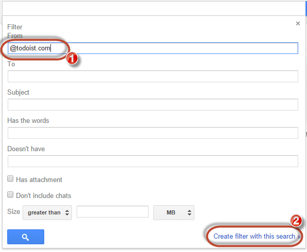 gmail create filter with this search