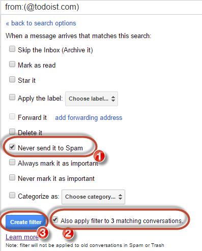 gmail whitelist never send to spam