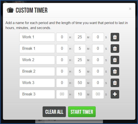 Marinara Timer - Custom Timer Option