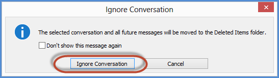 Outlook Ignore Conversation Confirmation