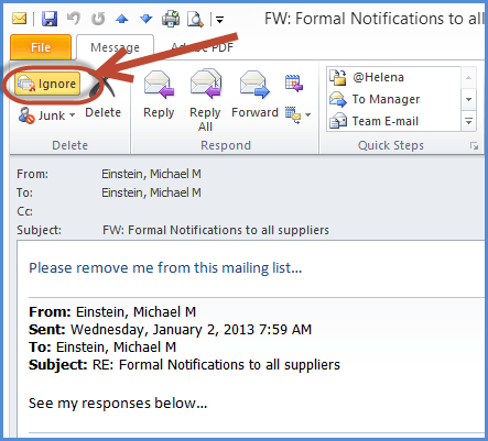 Outlook ignore Feature Email