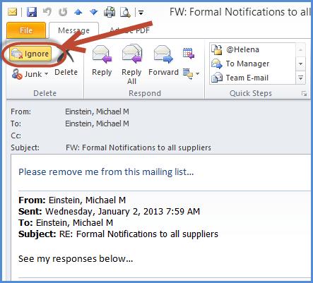 Microsoft outlook Ignore Conversation Undo