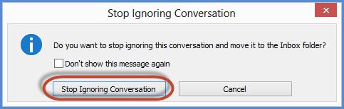 Microsoft outlook Ignore Conversation Undo confirmation