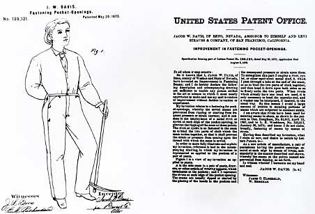 U.S. Patent and Trademark Office grants patent #139,121 for the riveted pair of denim trousers, 1873, http://www.levi.com/US/en_US/about/history-heritage