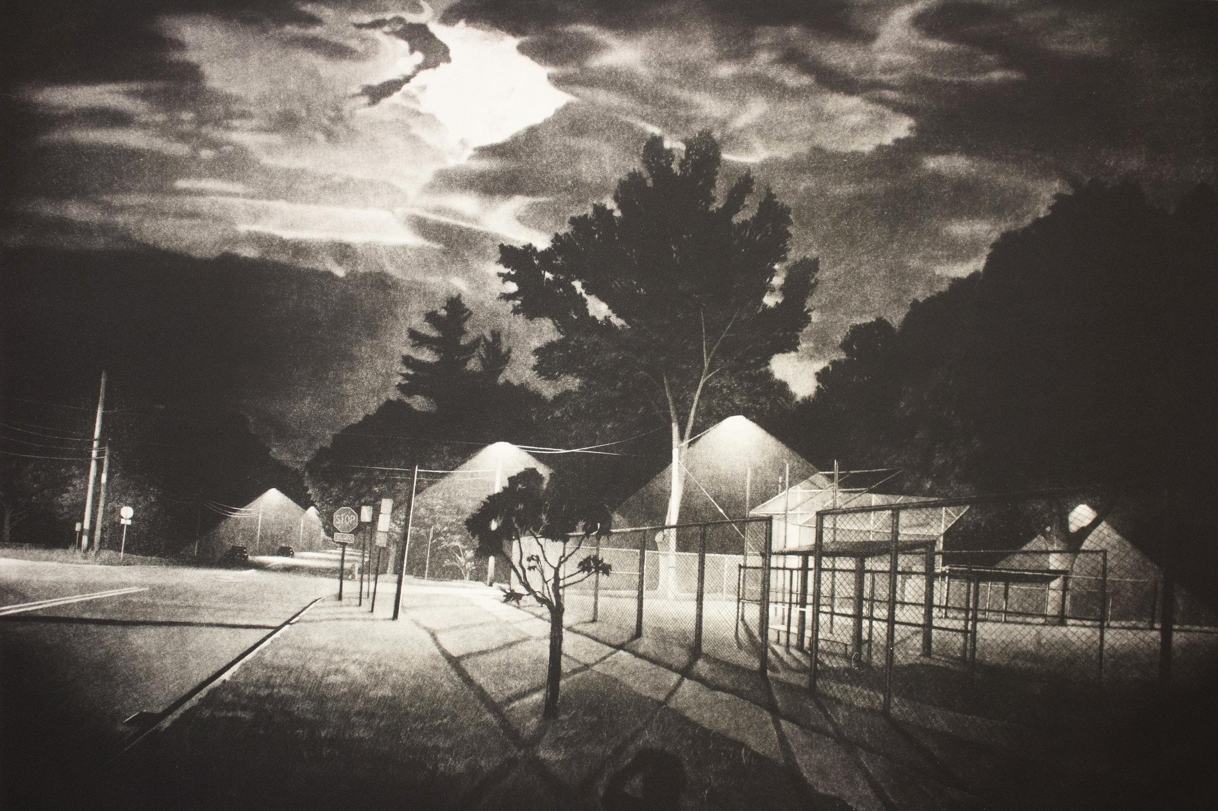 "Know Where / Nowhere / Now Here   44 x 31.5"" Mezzotint 2014"