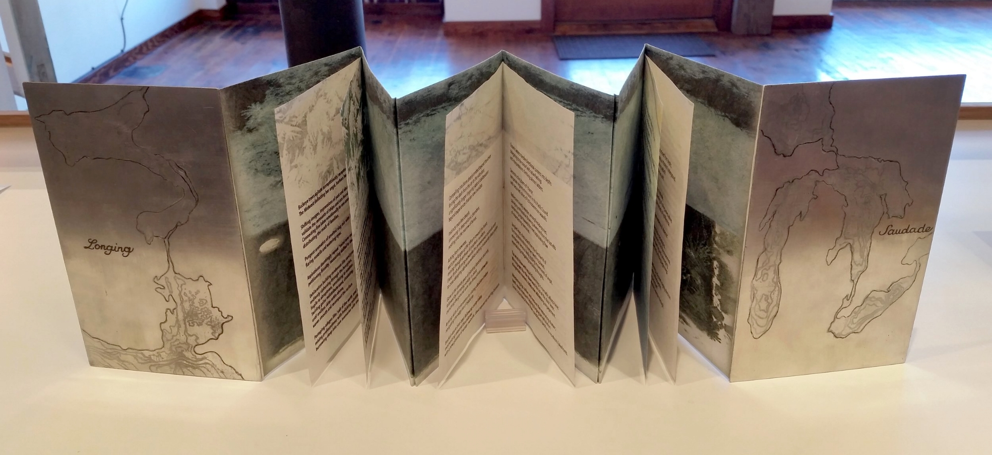 "Saudade , 4.5 x 7"" accordion book by Ann-Marie Cunningham"