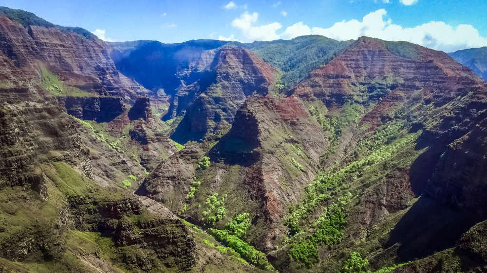 Aerial view of Waimea Canyon on Kauai