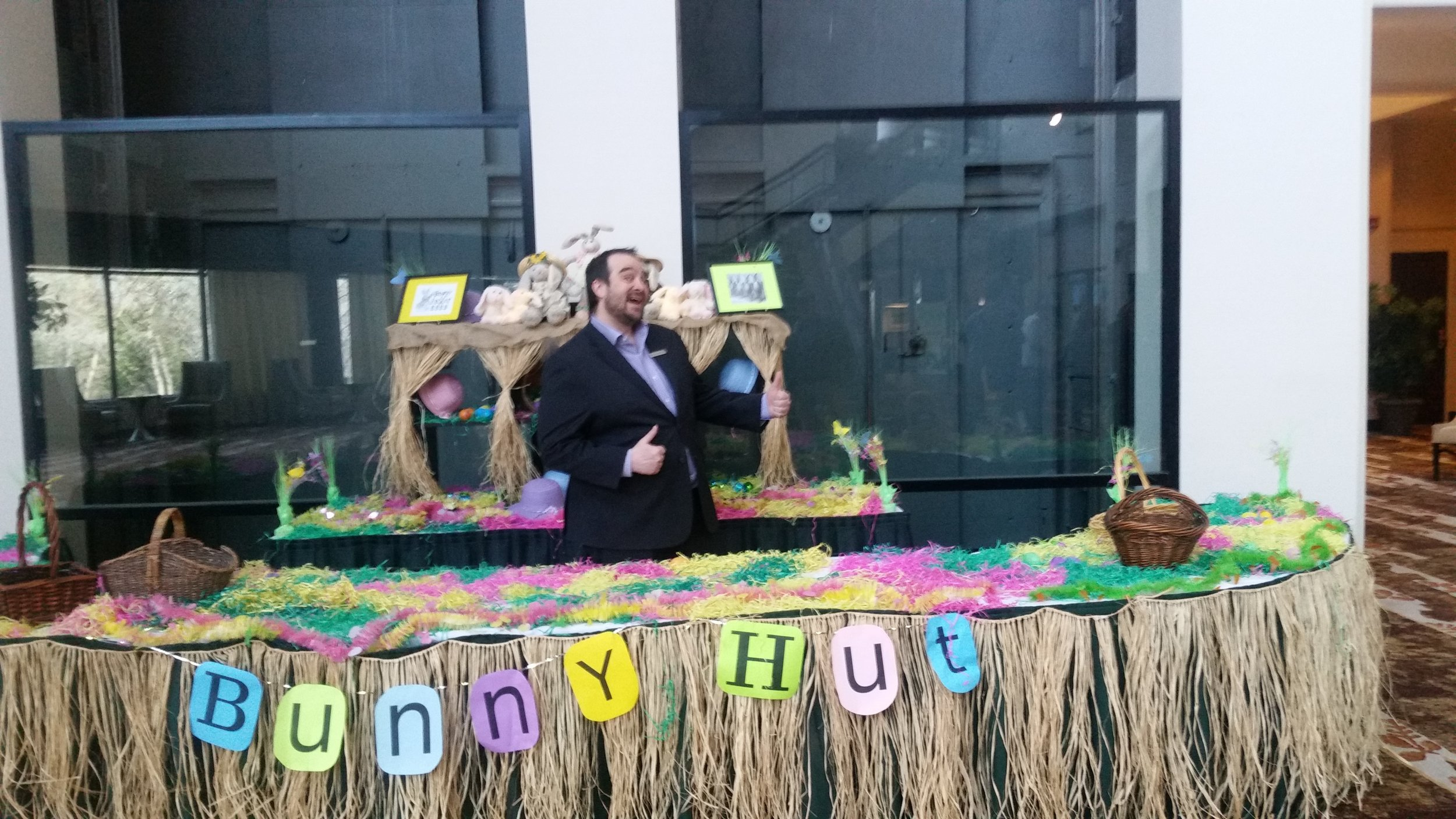 Our Director of rooms David having fun behind the bunny hut.