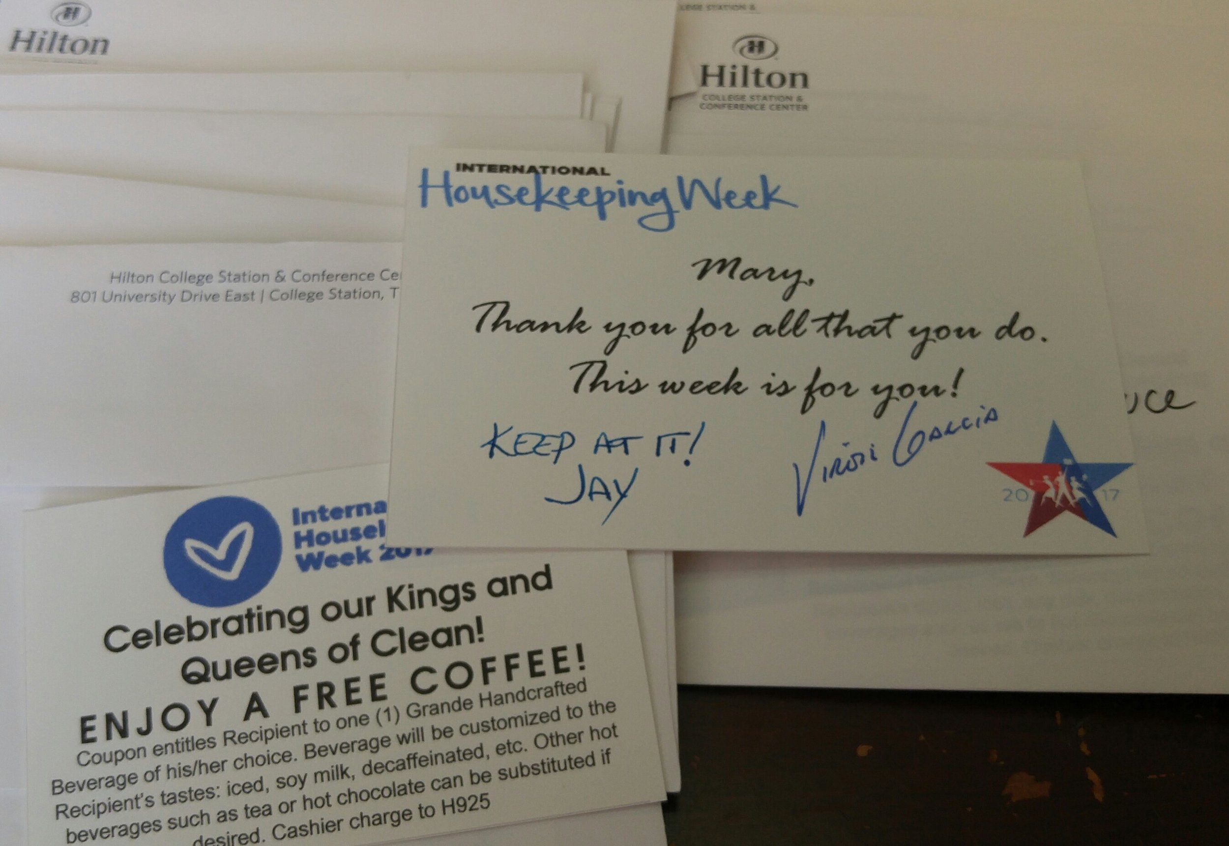A nice note from our GM and HR Director!