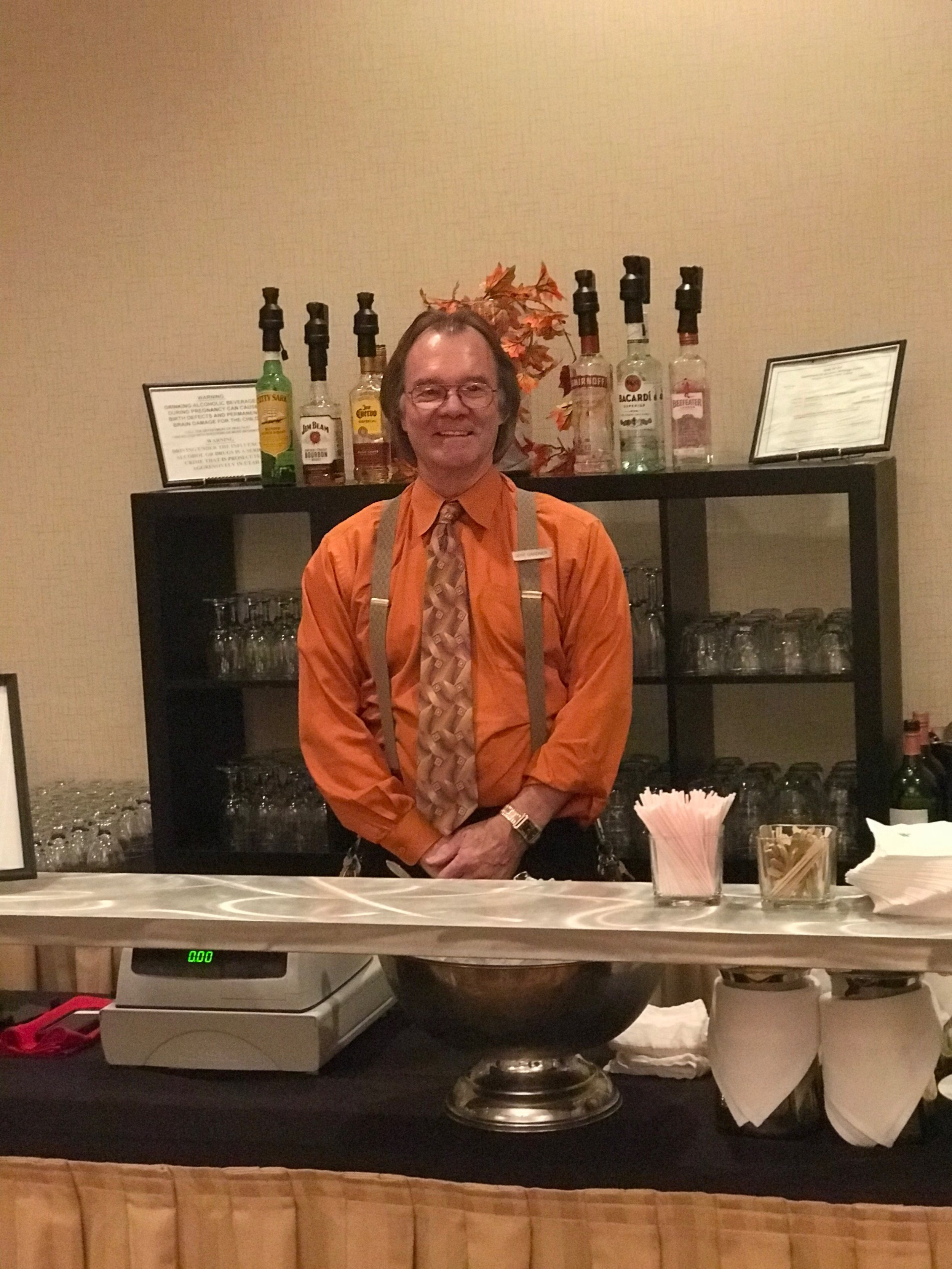 Our Director of Banquets Gene helping with the cash bar.