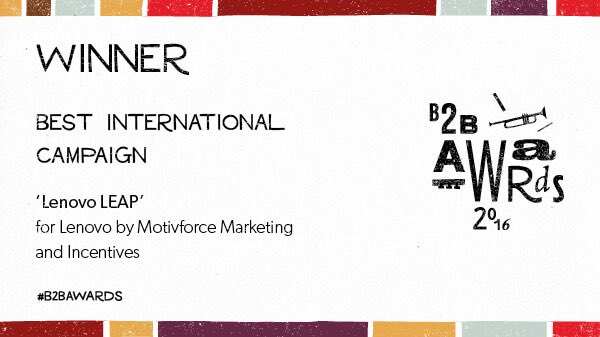 Winner B2B Marketing best international campaign