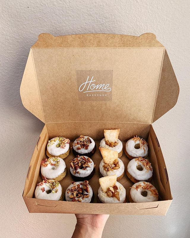 A couple more spots available to sign up for monthly donuts delivered from our Home to yours! Last week's box had off menu Pistachio Rose, year round favorite Chocolate Banana, experimental Apple Pie, and summer seasonal Coconut Lime. What would next week's box be?