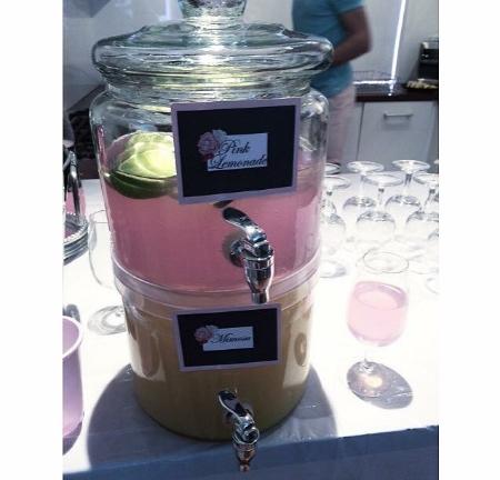 Drink Dispensers - Kmart Labels - DIY via Word Drinks - Pink Lemonade and Mimosa