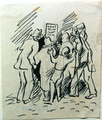 תושבי תל אביב קוראים את פקודת ג'מאל פאשא. איור של נחום גוטמן