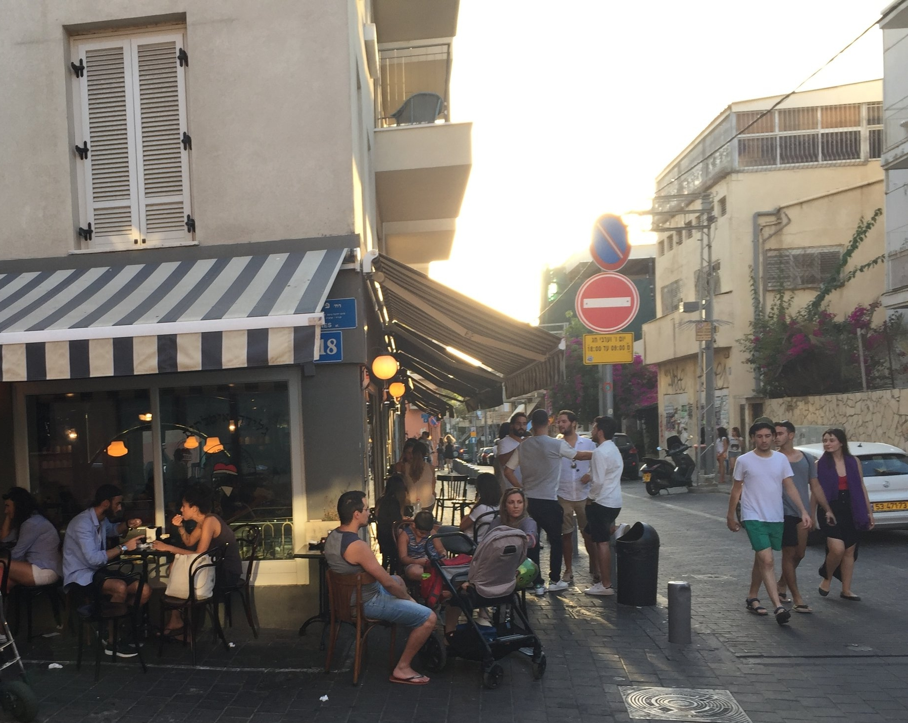 Shabazi st. is a fashionable spot filled with shops and restaurants - this is Shabbat in Neve Tzedek
