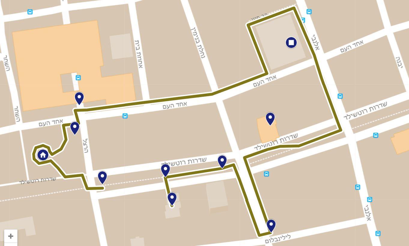 אתרי שביל העצמאות בתחילת שדרות רוטשילד.  למפה