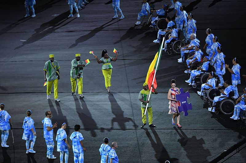 The Benin team at the Paralympic Opening Ceremony in Rio, composed of just one man - Cosme Akpovi, a competitor in the F57/58 Javelin. Image:  Tomaz Silva/Agência Brasil