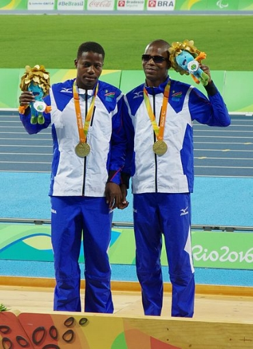 Ananias Shikongo, and his guide runner Even Tjiviju, winner of gold in the Men's 200m T11 (and two other bronze medals) for Namibia in Rio. Image:  Vision2030