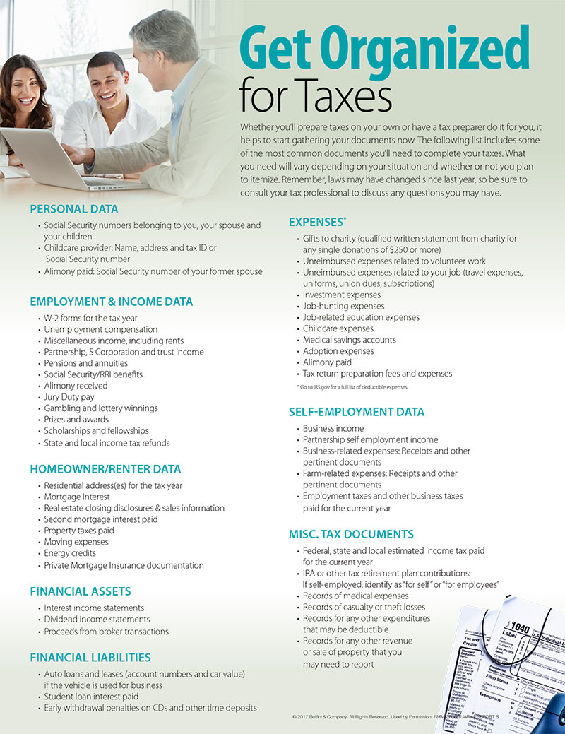 Tax time is nearly here. Minimize last minute rushing by collecting all of the paperwork you or your tax preparer will need to do your taxes now. This month, I'm sharing a list of documents (above) you may need to complete your taxes. Use it as a tool to help you get organized and feel prepared for tax season.