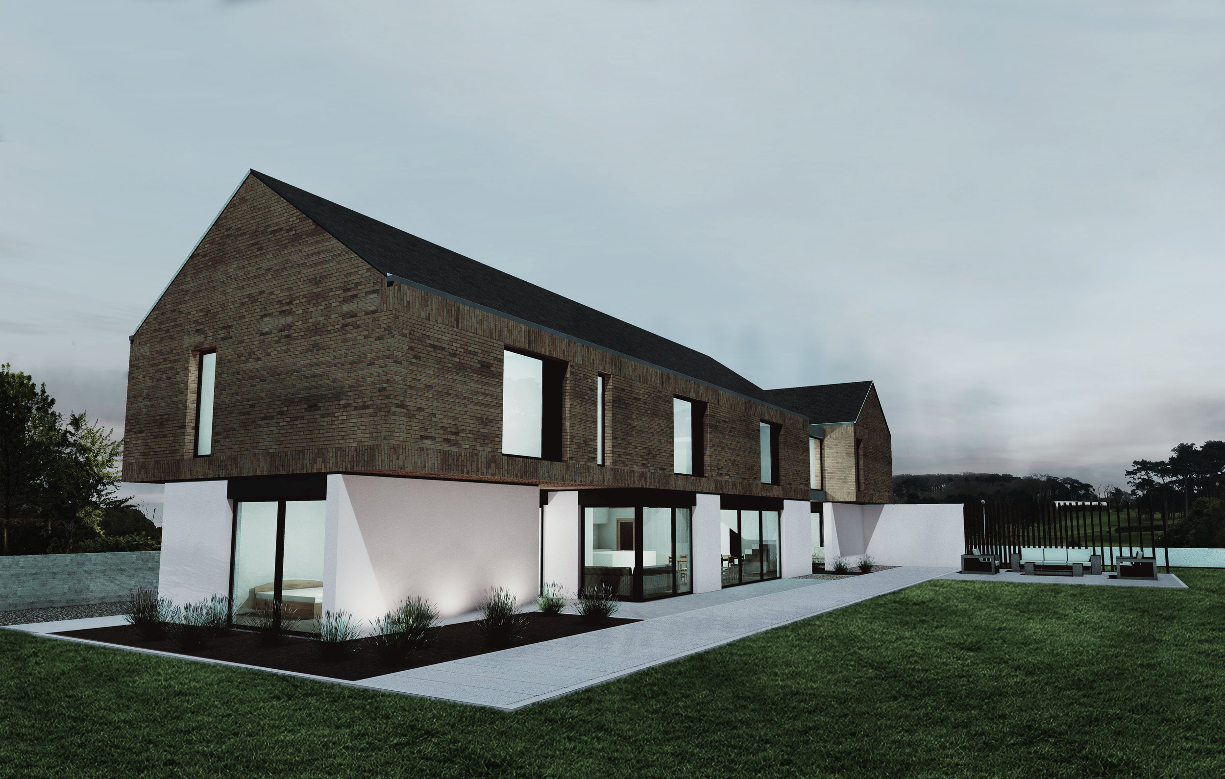 Helen's Bay House - reclaimed brick, aluminium panels, white render