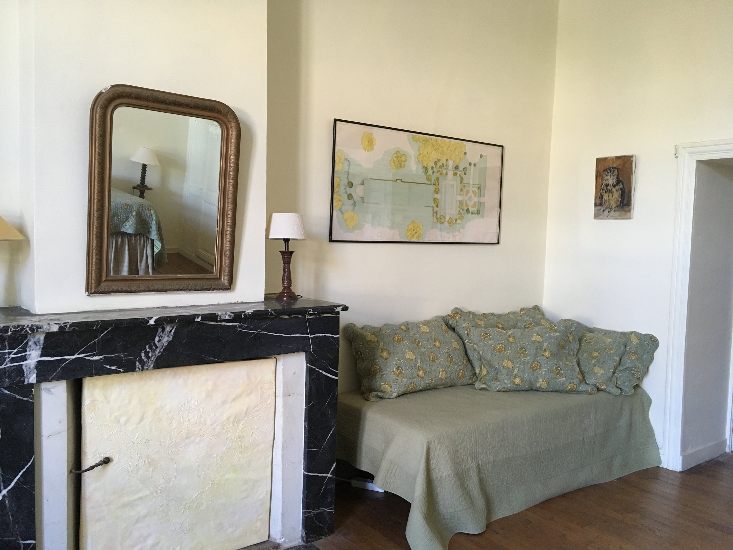 Yellow room daybed and Jane garden drawing.JPG