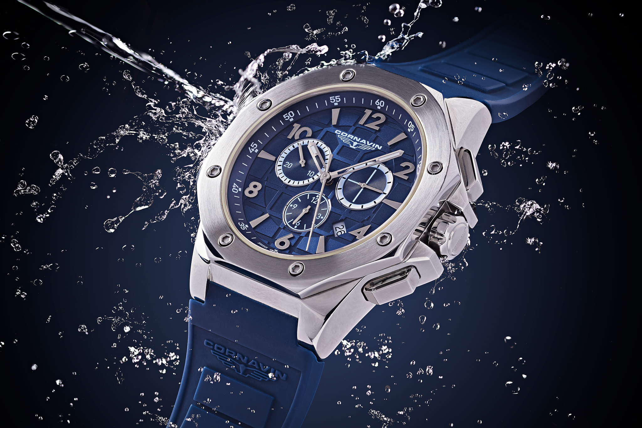 Cornavin watch with water splash (Personal work)