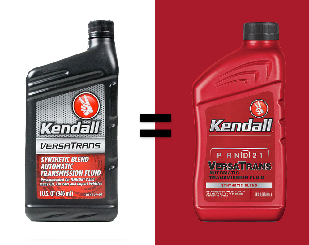 THE NEW AND IMPROVED KENDALL Versatrans atf, premium automatic transmission fluid.