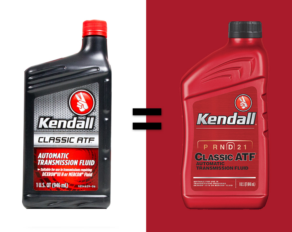 THE NEW AND IMPROVED kendall Classic Atf -- the proprietary kendall formula for your automatic transmission.