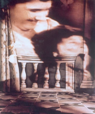 """LIMBO  A series of photos with projected scenes from the film """"La petite Aurore, l'enfant martyre"""", a painted backdrop, doves, a child and myself.  Cibachrome prints, 155 X 130 cm., 1998"""