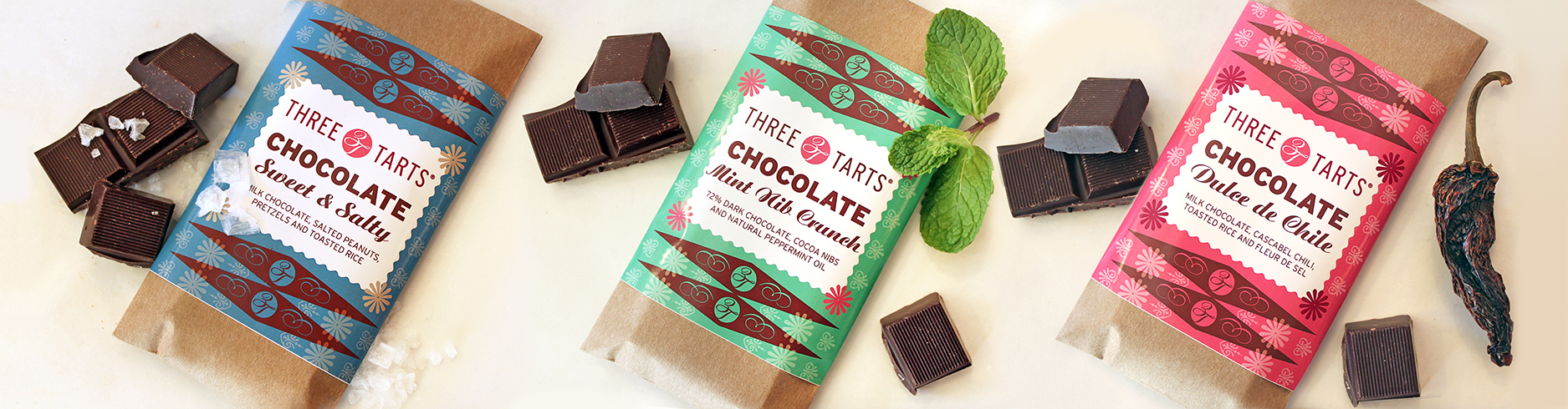 Three Tarts chocolate bar package design