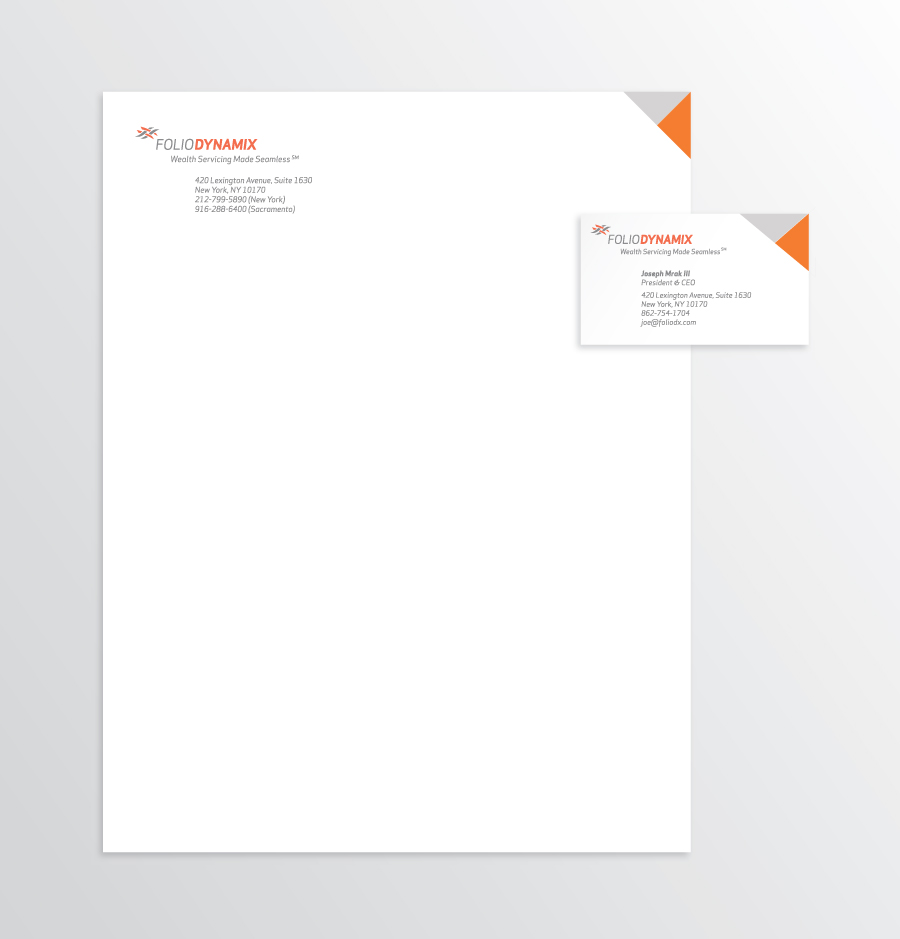 FOLIODYNAMIX LETTERHEAD AND BUSINESS CARD