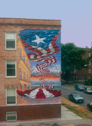 Honor Boricua , 1992, acrylic on brick, by Hector Duarte