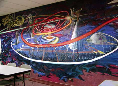 Awakening of the Americas,  1995-1996, acrylic on plaster, by Hector Duarte
