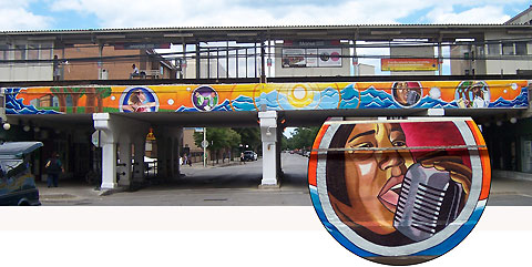 Artistic Movement,  2007, Acrylic on Non-woven media, Mural Morse & Glenwood (4x80 ft)