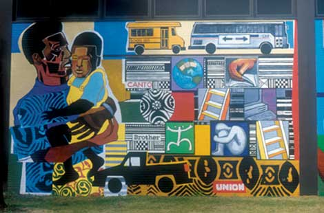 Urban World at the Crossroads,  1997, acrylic on brick, by Bernard Williams and John Pitman Weber.