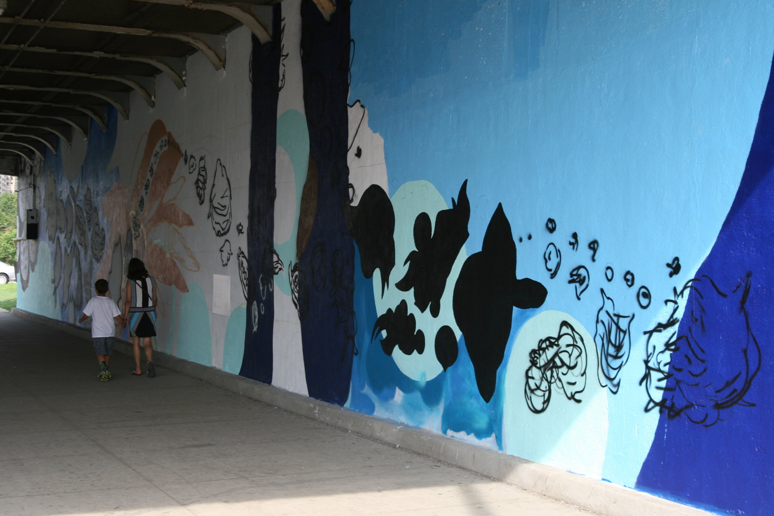 Work is continuing on the mural