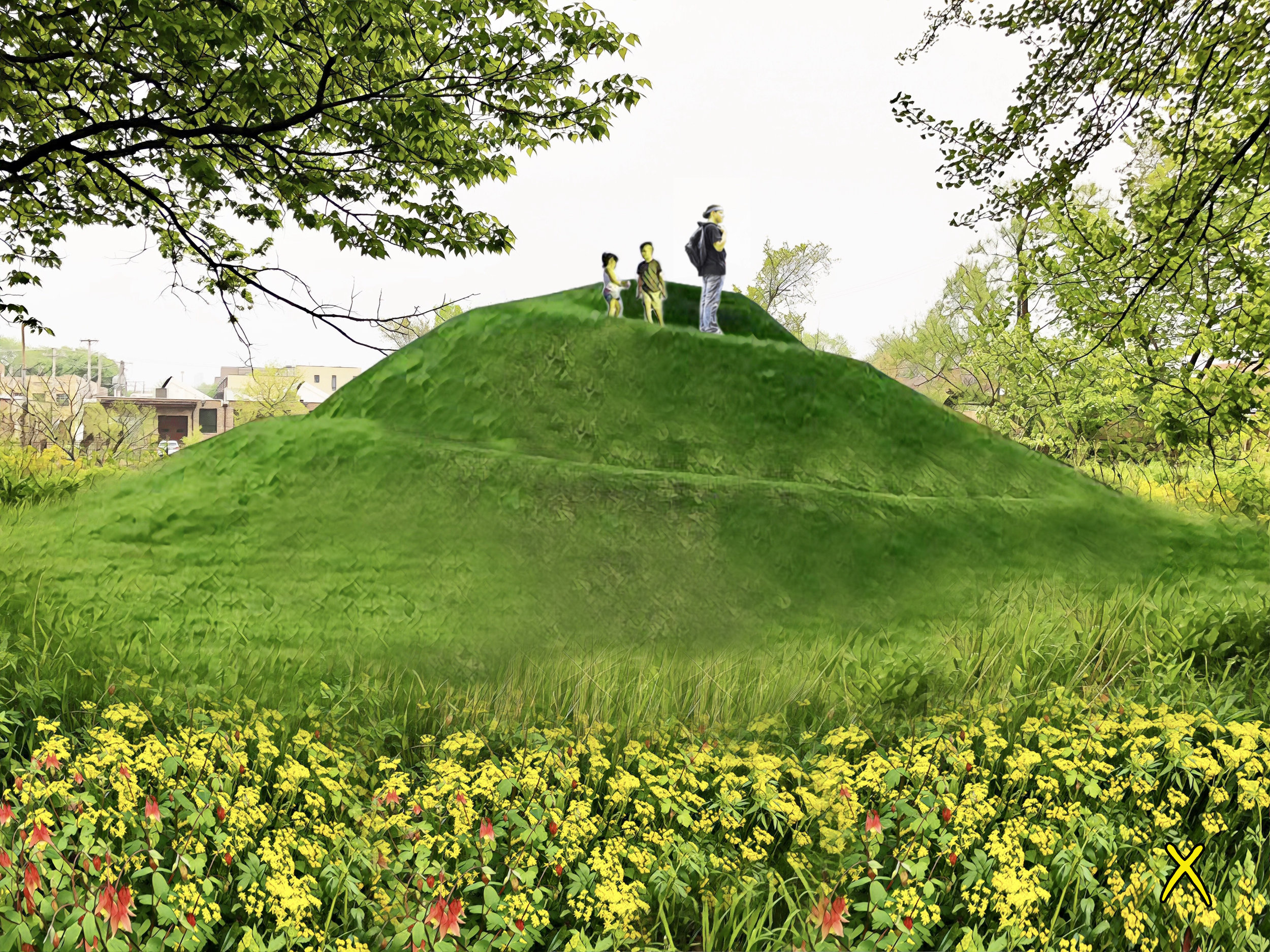 Coil Mound - The Chicago Public Art Group is proposing the installation of an earthen mound along the western banks of the Chicago River in Horner Park.