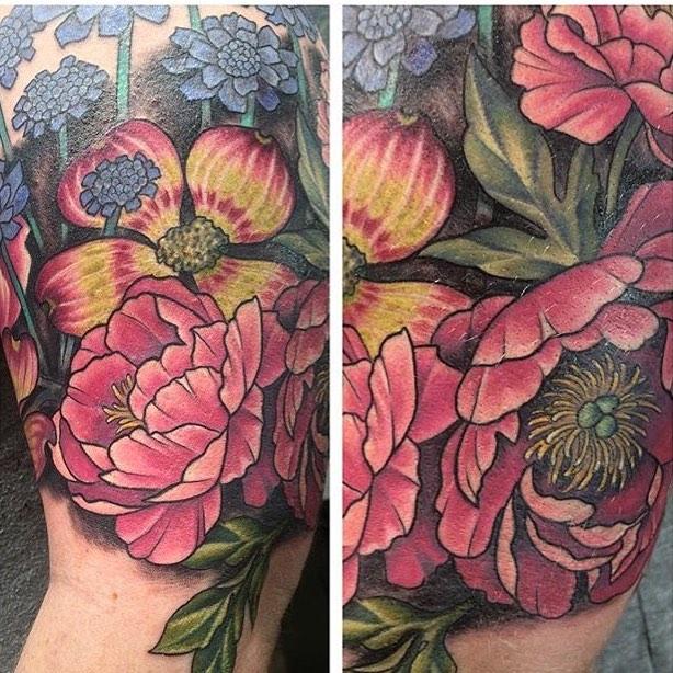 Floral tattoo by Jen Stewart
