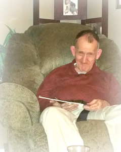 Billy Joe in his favorite recliner in the Johnsons' home.
