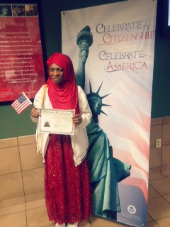Monica on her citizenship day