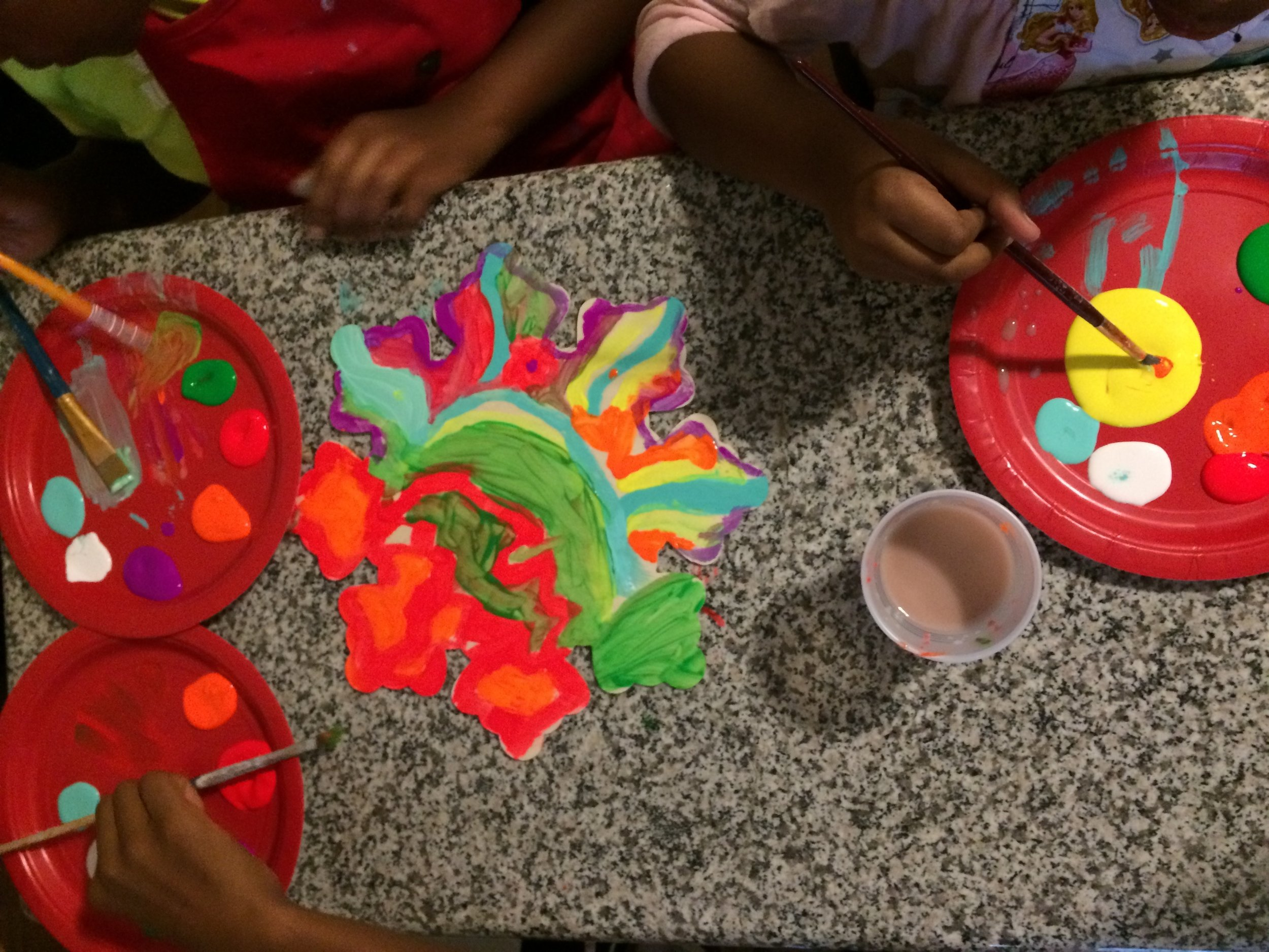 Fun with arts and crafts with Azure Community Development Arts for Inspiritus refugee children.