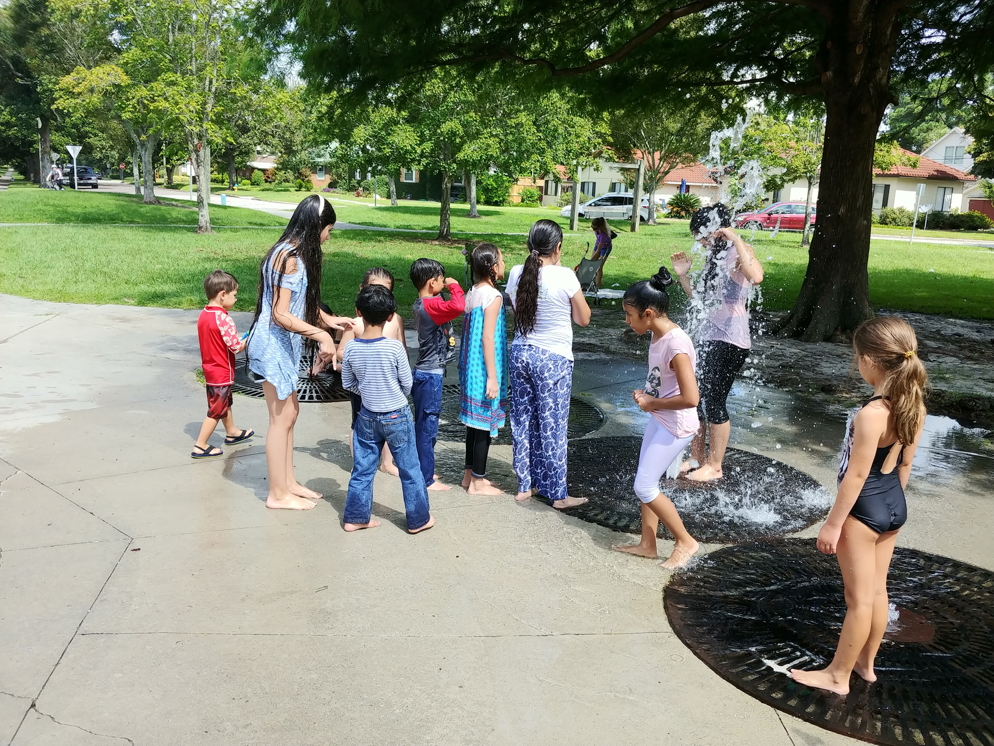 Last year's campers cooling off on a hot day.