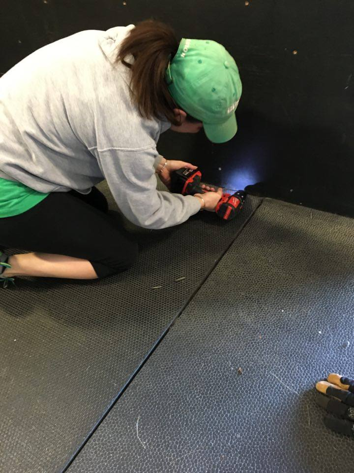 Thanks to everyone who made time this weekend to swing by the gym and lend a hand; whether for five minutes or all day. Without amazing people like you, CFE wouldn't be where it is today. From the bottom of our hearts; THANK YOU. (Photo of Angela with a couple screws loose, badump psh)