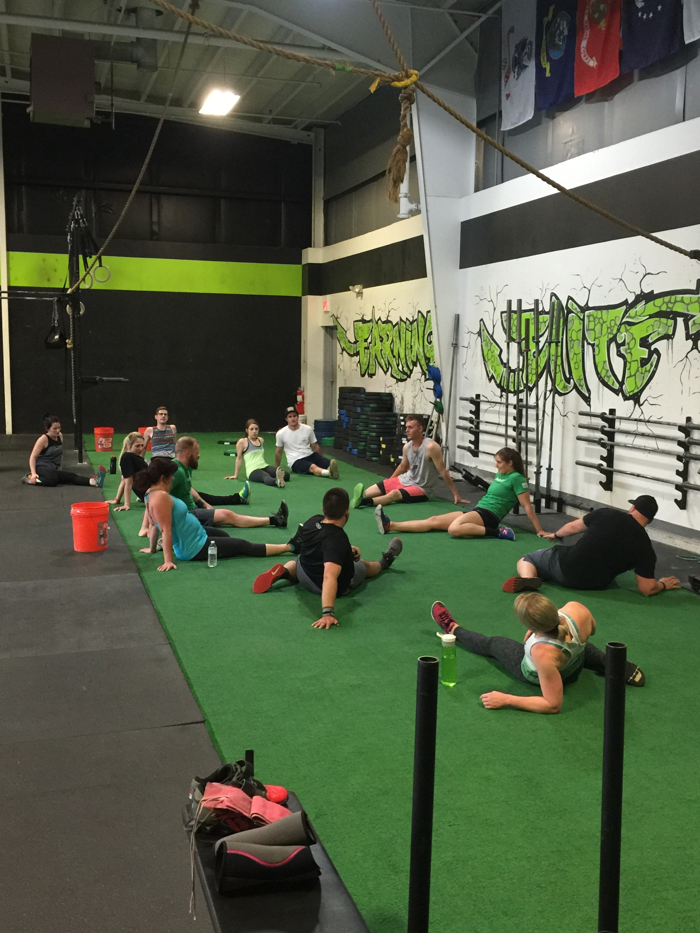 """6:30pm class cooling down after hitting """"Dogma"""" yesterday."""