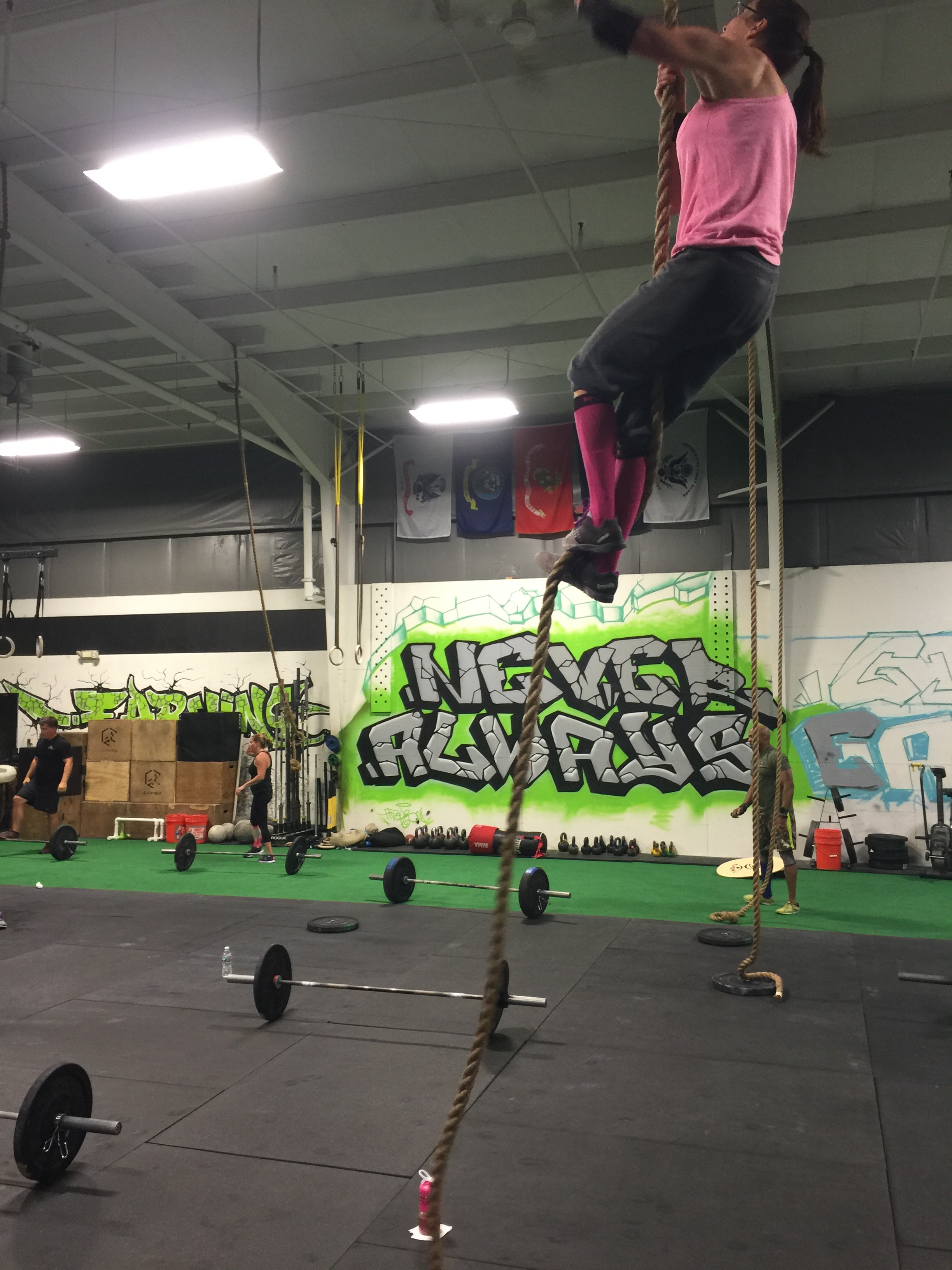 Carrie crushing rope climbs.
