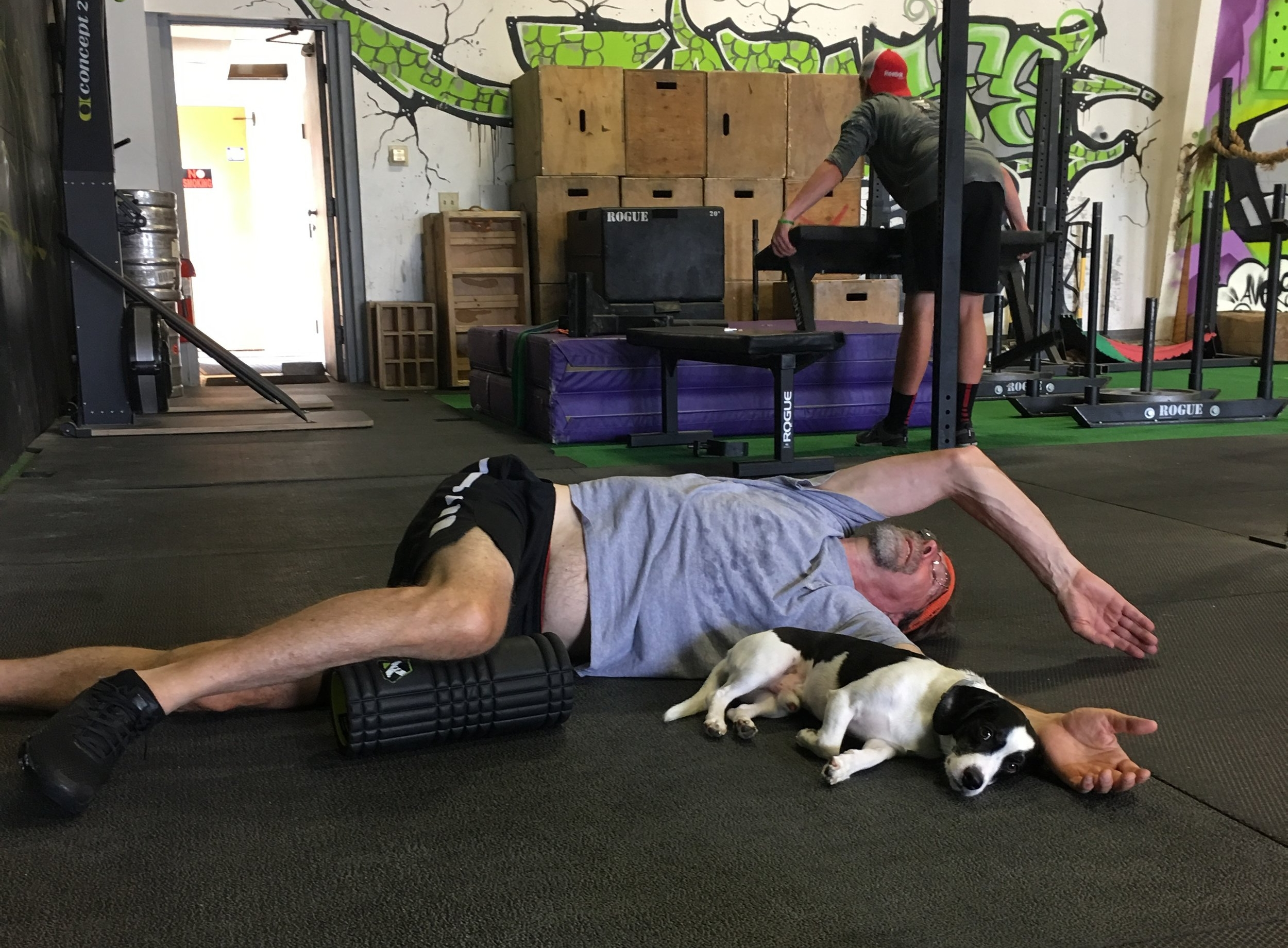 Snoopy providing protection and reassurance during a mobility torture session :)